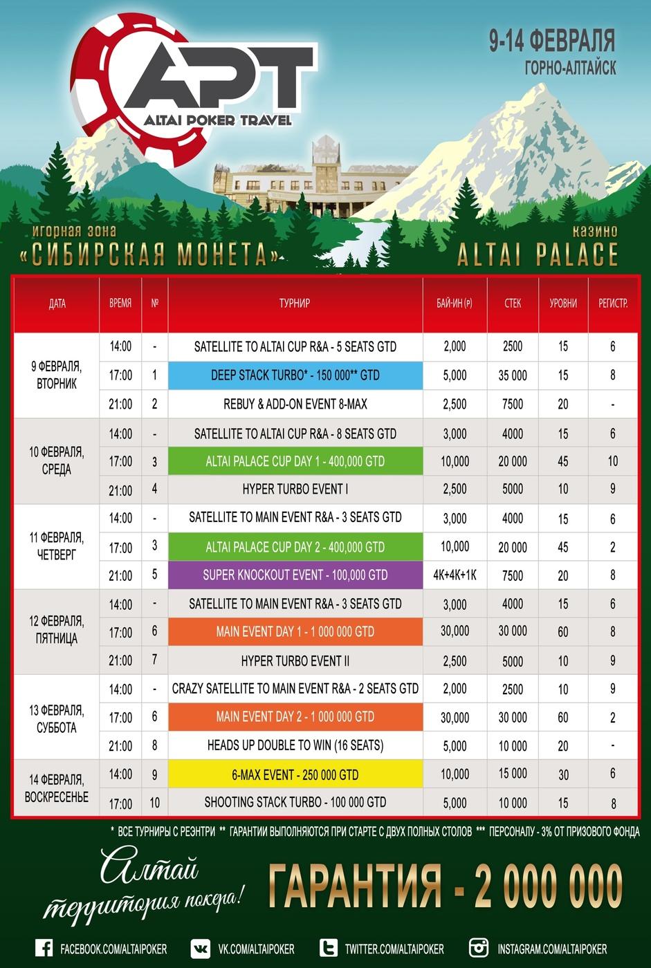 Расписание Altai Poker Travel